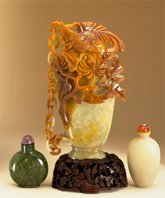 Chinese Antique Jade,Two Snuff Bottles and a chained Vase, John Neville Cohen